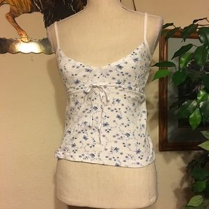 Energie white with blue butterfly cami tank NWOT L
